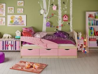 Кровать детская Дельфин 80х160 Дуб беленый-Розовый металлик