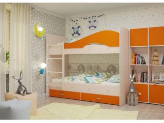 Двухъярусная кровать Мая с ящиками дуб оранжевый