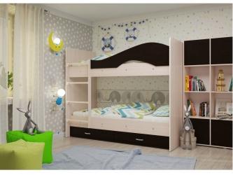 Двухъярусная кровать Мая с ящиками дуб венге
