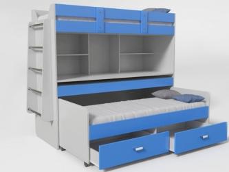 Кровать 2-х ярусная № 2 с ящиком синий