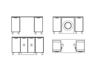 Модуль для установки стиральной машины под общую столешницу МС600 600х716х116 Прованс