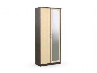 Шкаф 2-х створчатый с зеркалом Дуэт Люкс Венге-Дуб Млечный
