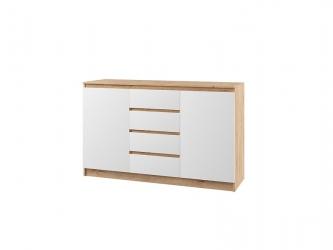 Комод с 4 ящиками и 2 дверями Марли МКМ1400.1 дуб бунрати-белый глянец