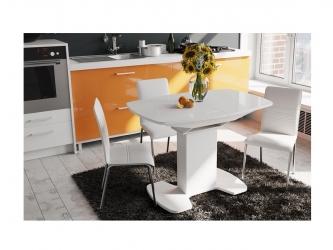 Стол со стеклом Портофино белый глянец