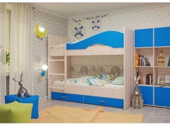 Двухъярусная кровать Мая с ящиками дуб синий